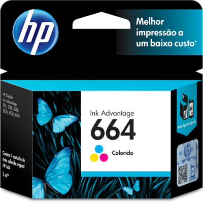 Cartucho de Tinta HP 664 Color F6V28AB F6V28A Original 2ml